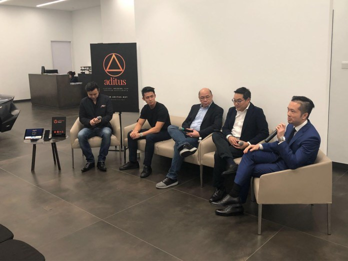 From left: Julian Peh, CEO of Aditus, Shaun Djie, COO of Digix, Vic Tham, CIO of Pundi X, Jack Chia, Managing Director of Cryptology and Patrick Tan, General Partner at Compton Hughes.
