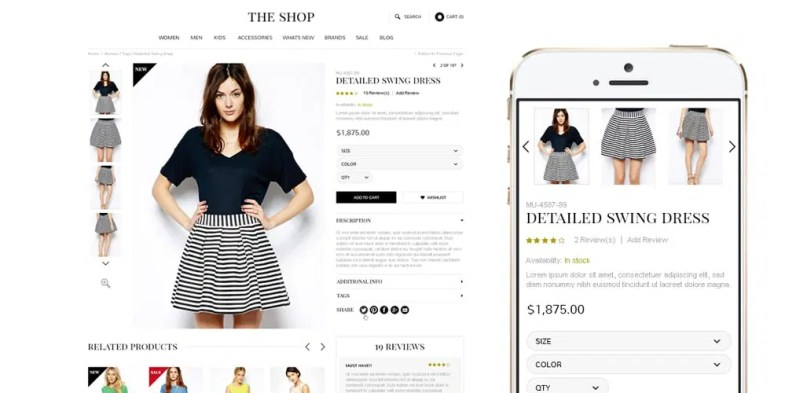The Shop Free Multipurpose E commerce Web Template PSD