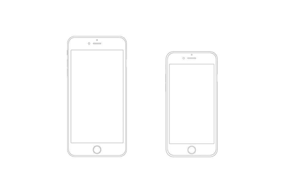 25  Outline Mockups for Wireframing   Presentation iPhone 6 Plus and iPhone 6 Wireframe