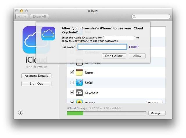 E poi si deve inserire la password ID Apple per l'iPhone per accedervi.  Apple ha davvero non vuole estranei hacking del portachiavi.