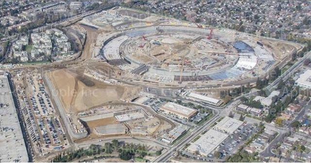 The Spaceship Campus is progressing nicely. Photo: Apple