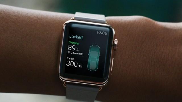 A Tesla Watch app concept. Photo: Eleks Labs