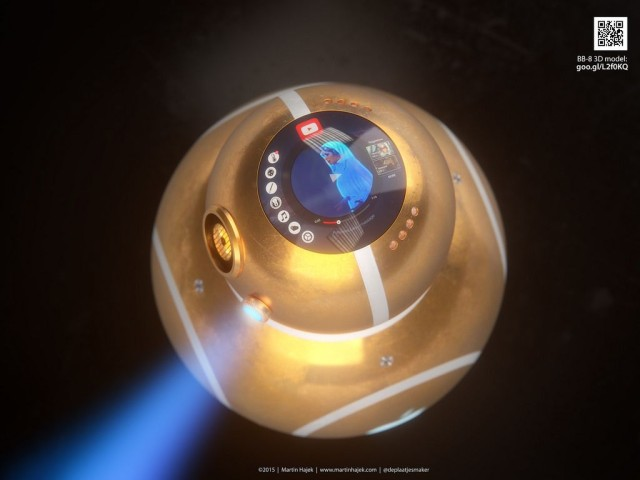 The hologram on top of the gold iDroid is a nice touch. Photo: Martin Hajek