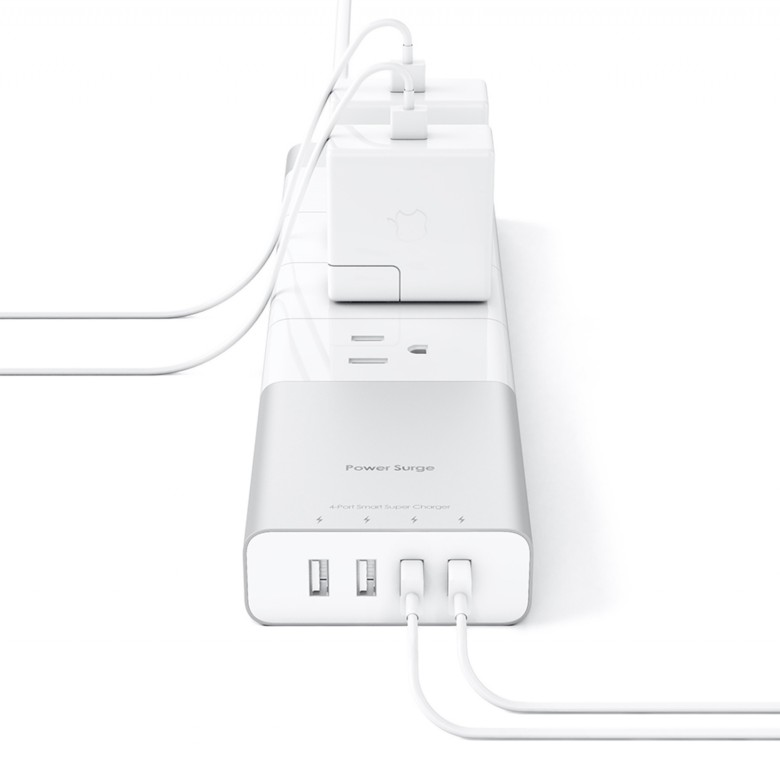 The power strip has four USB ports and four and four AC outlets.
