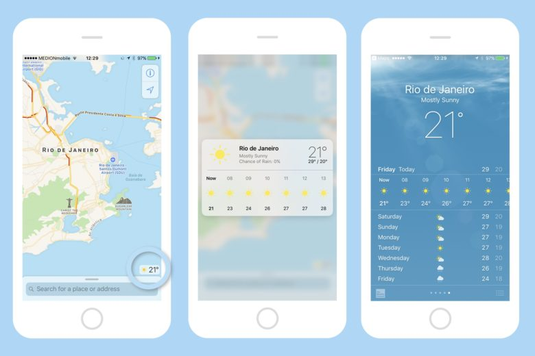 maps app 3d touch weather