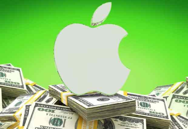 Big pile of cash underneath an Apple logo.