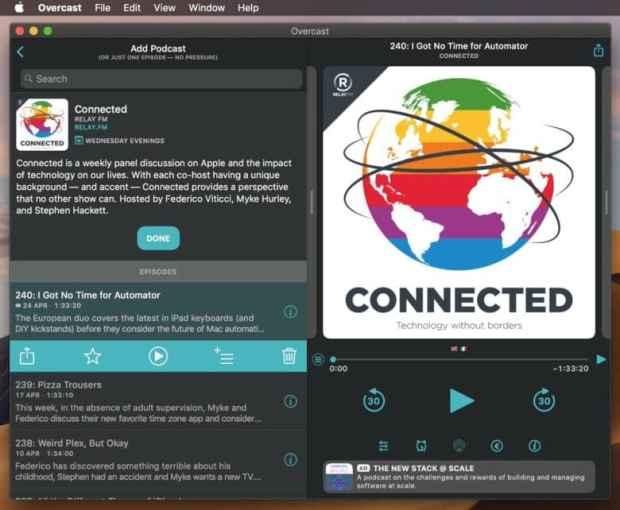 Overcast on Mac in dark mode