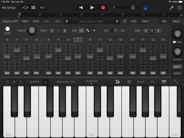 Here is the AudioKit Digital D1 Synth, running inside GarageBand.