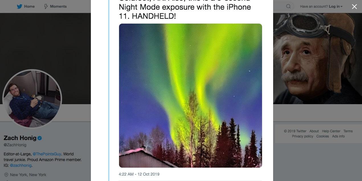zach honig's photo of northern lights shot on iphone