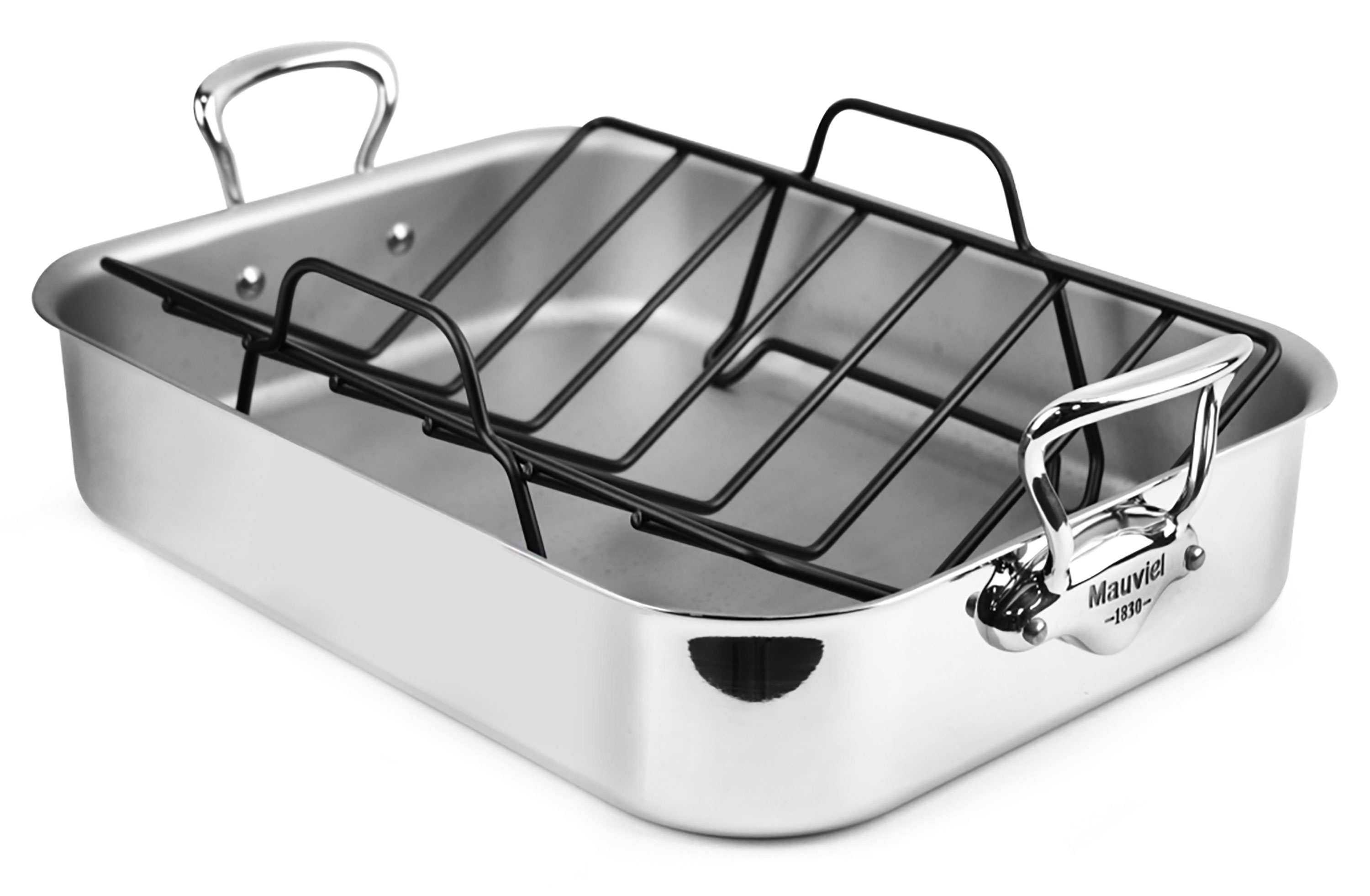 mauviel m cook stainless steel 16x12 roasting pan with rack
