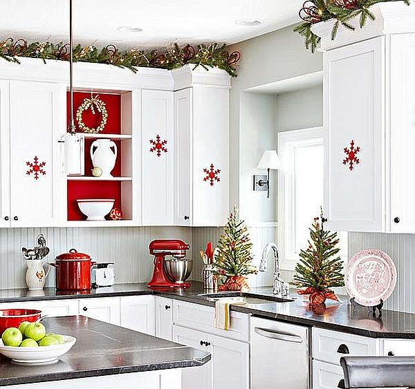 Attrayant Christmas Kitchen Decoration Ideas Curtains Tablecloth Windows