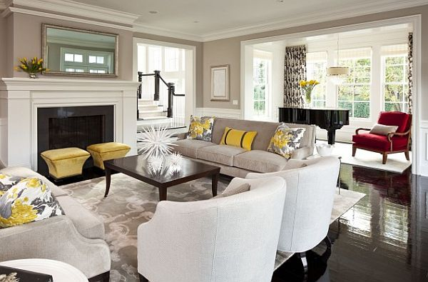 Yellow And White Living Room Ideas Modern House