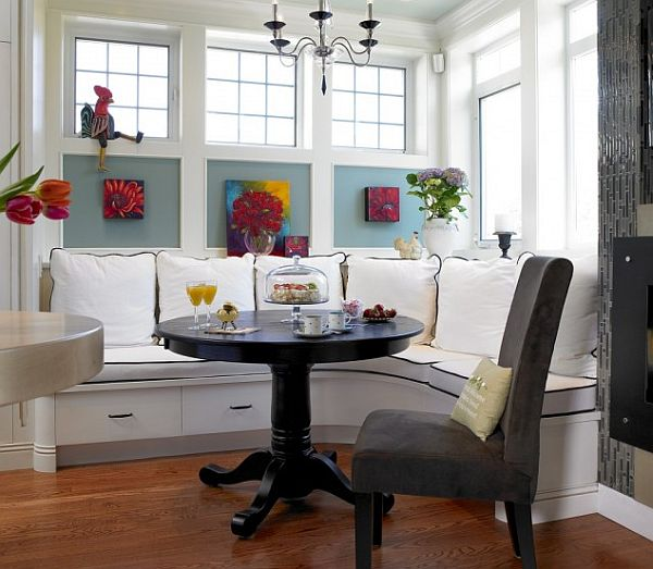 Diy dining room corner bench. some pillows add easy comfort to ...