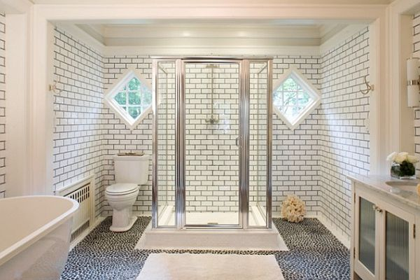 White Bathroom With Grey Tile Grout Decoist