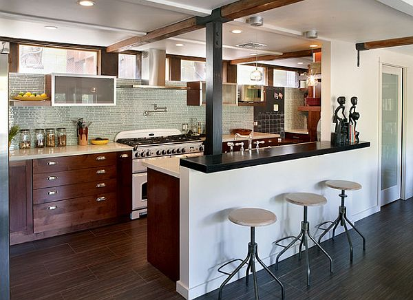 L Shaped Kitchen Design Breakfast Bar