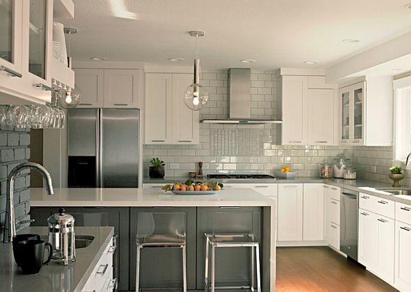 Modern Grey And White Kitchen Backsplash Novocom Top