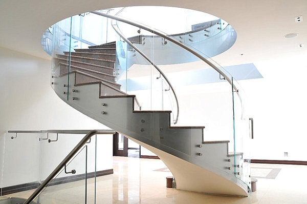 Make A Statement With Spiral Stairs | Spiral Staircase With Glass Railing | Exterior | In India Staircase | Stair Wood Bracket | Glass Insert | Inside Glass