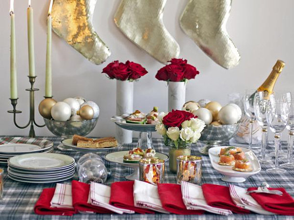 Holiday Cookie Exchange Party Floral Holiday Tablescape Christmas Stockings Red Napkins Ball Ornaments Candles