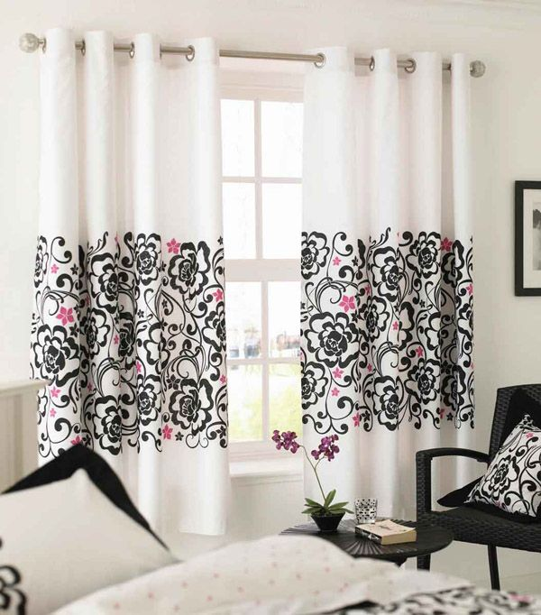 Black And Pink Patterned Curtains Decoist