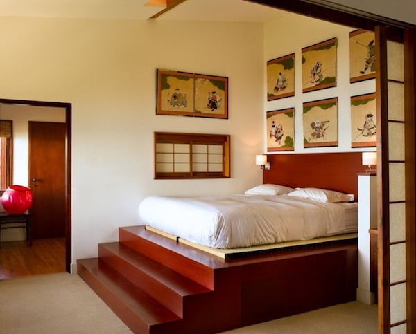Platform bed with stairs, shelves and helpful amenities