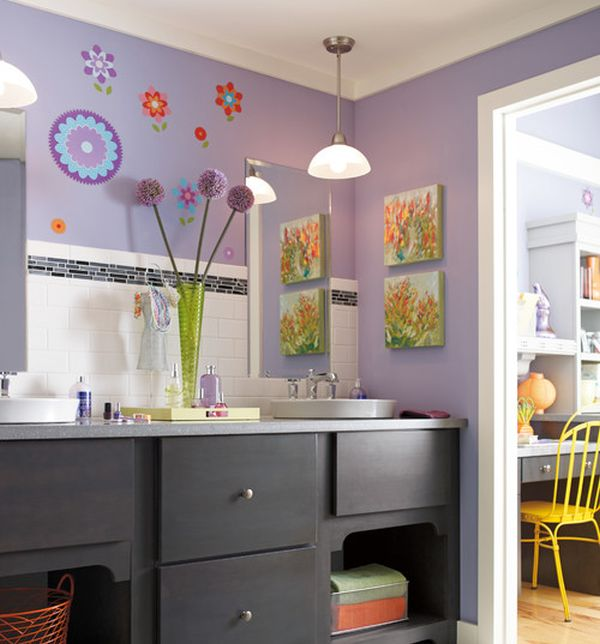 Purple Kids Bathroom With Ample Color And Attractive Wall