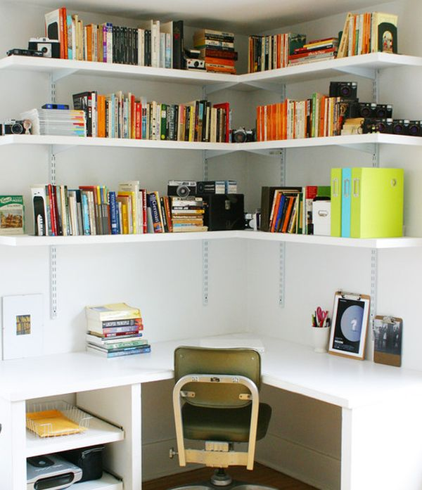 Corner space in the bedroom turned into compact home office with ample storage