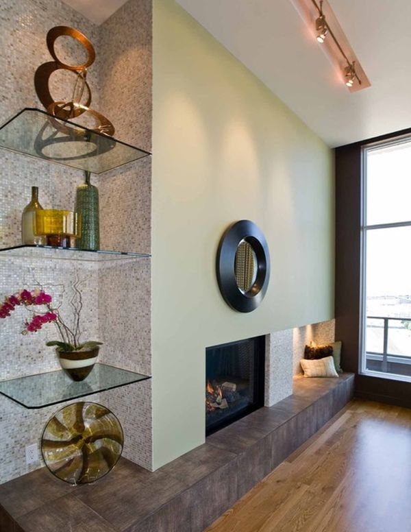 Ergonomic glass shelves in the corner perfect for the contemporary home