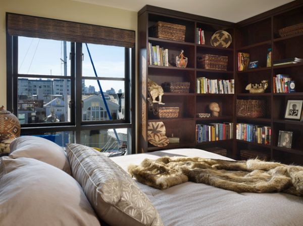 L-shaped bookshelves make an effective addition to the modern bedroom