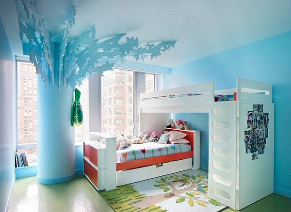 View In Gallery Orange Pops A Pastel Blue Bedroom
