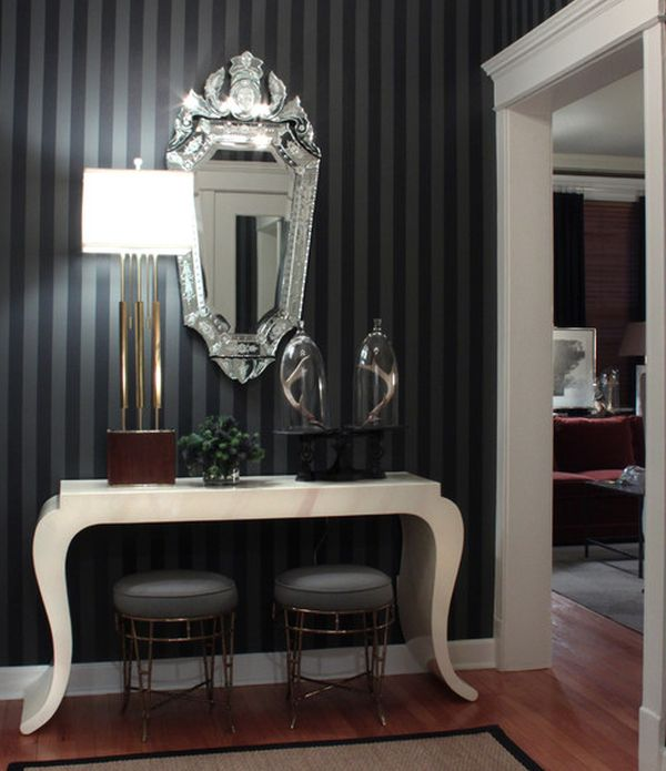 Image Result For Black And White Wallpaper For Bathrooms
