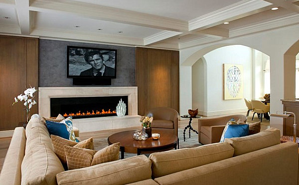 Brown and beige living room walls. living room design ideas in ...