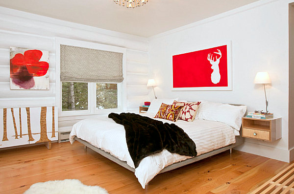 Bedroom Design White Walled Bedroom with Red Accents Wall art and Throw Pillows Matched Bedside Lamps