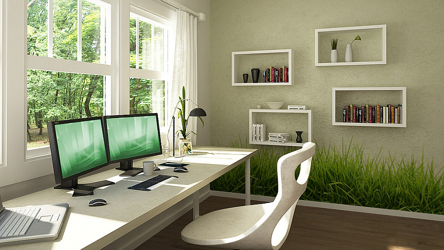 home office green grassy wall stickers