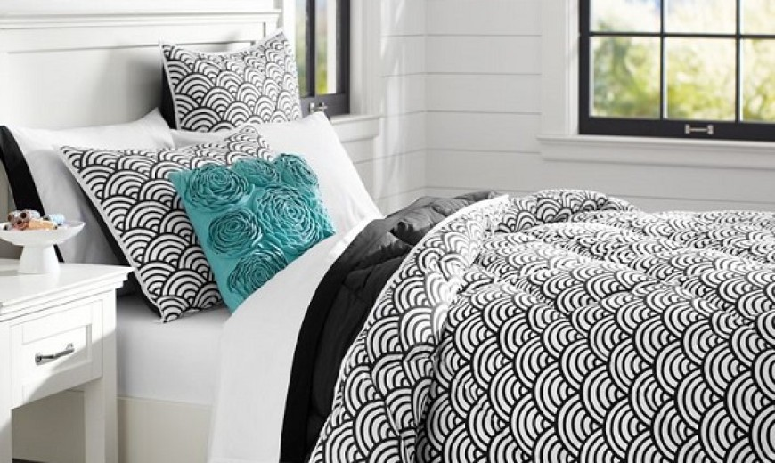 chic black and white bedding for teen girls