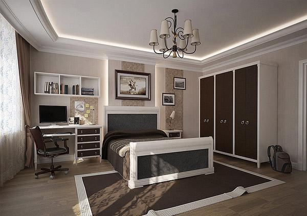 Stylish Teenage Boys Bedroom Clad In Brown And Cream