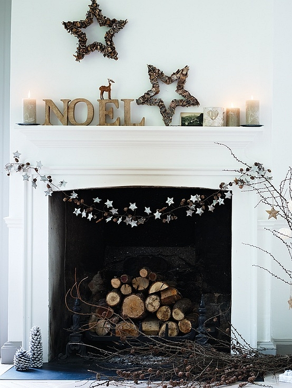 Interior Fireplace Christmas Decorations 33 Mantel Ideas 1000