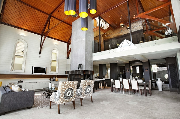 View of the mezzanine level of a church revamped into a modern home