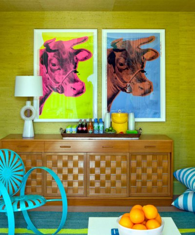 Pop Art Decor Cow Wall Art Andy Warhol Interiors Green Walls Turquoise Accents Living Room