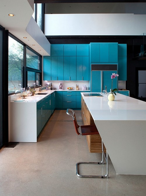 Kitchen Color Schemes with Turquoise Cabinets Blue Cabinetry Pop of Color Kitchen Design Appliances Redesign Remodel Ideas