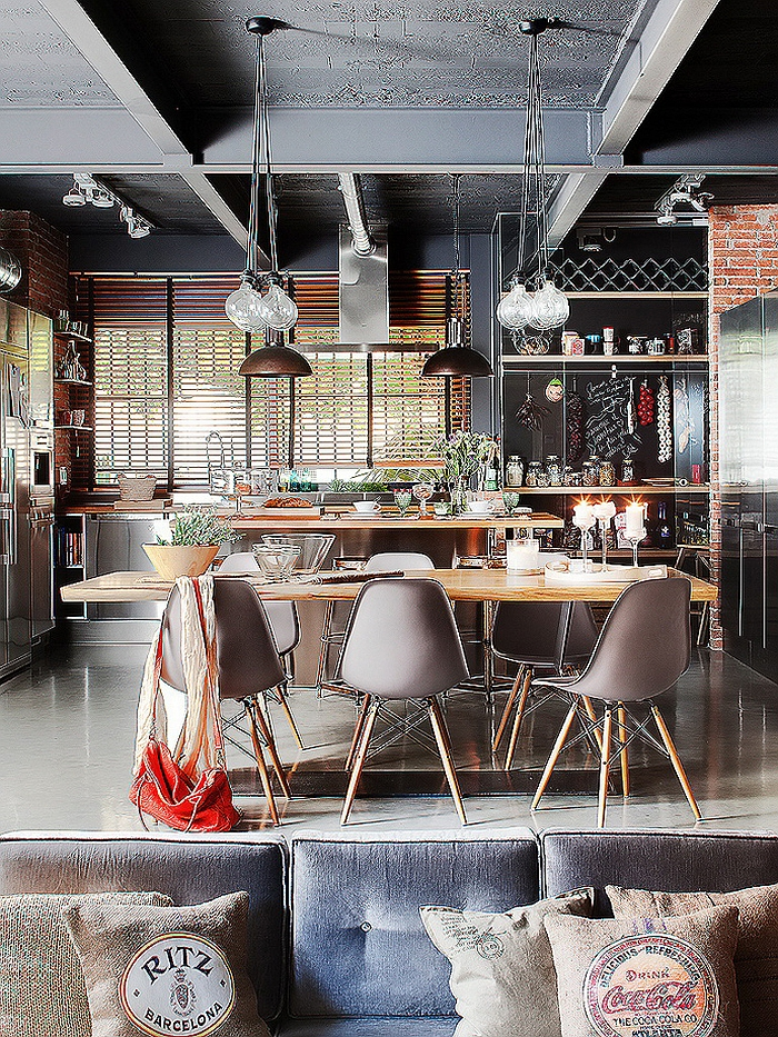 Beautiful dining space with Eames molded chairs