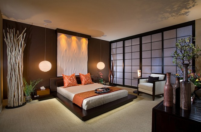 View In Gallery Stunning Asian Style Bedroom With Platform Bed And Pendant Lights 66 Inspired Bedrooms That Infuse