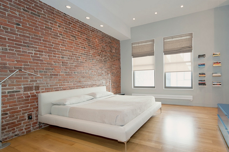 50 Minimalist Bedroom Ideas That Blend Aesthetics With Practicality View in gallery Exposed brick wall idea for a stylish minimal bedroom