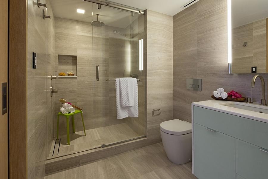 Modern Bathroomw Ith Glass Shower Enclosure
