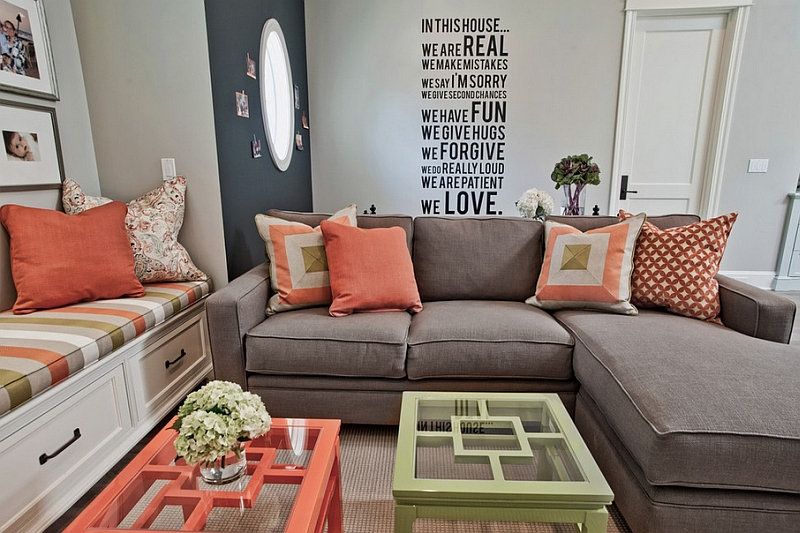 Coral coupled with refreshing lime green to create a breezy living room Hot Color Trends: Three Fashionable Hues That Serve You All Year Long Year Trends Three Serve Long Hues Fashionable Color