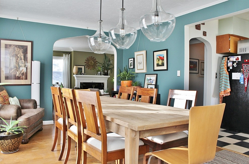 Eclectic dining room with a breezy combination of Caribbean Teal and white Hot Color Trends: Three Fashionable Hues That Serve You All Year Long Year Trends Three Serve Long Hues Fashionable Color