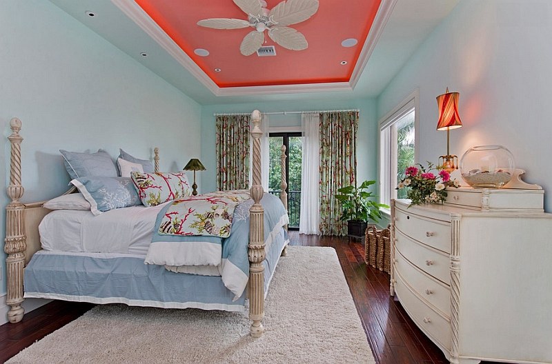 Give your ceiling a fresh makeover with luminous coral Hot Color Trends: Three Fashionable Hues That Serve You All Year Long Year Trends Three Serve Long Hues Fashionable Color