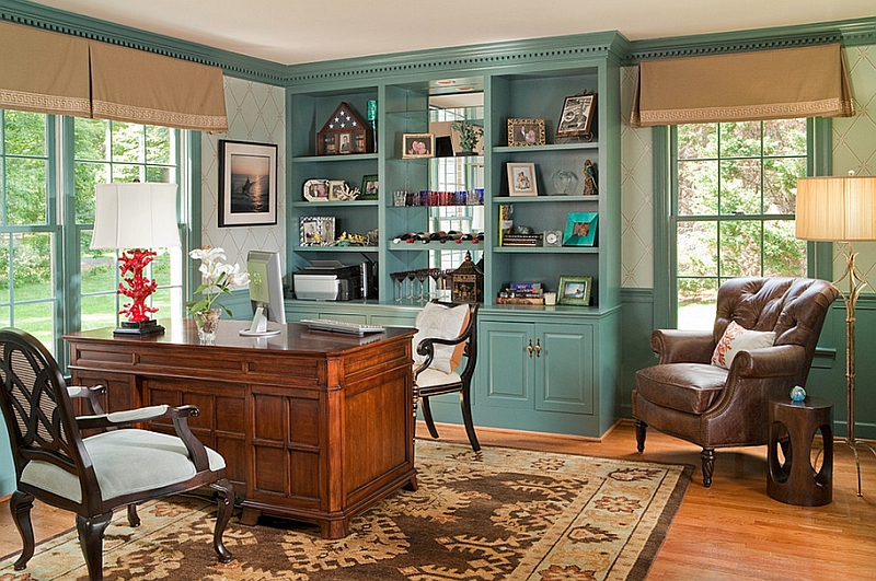 Home Office cabinets painted in cool Caribbean Teal Hot Color Trends: Three Fashionable Hues That Serve You All Year Long Year Trends Three Serve Long Hues Fashionable Color