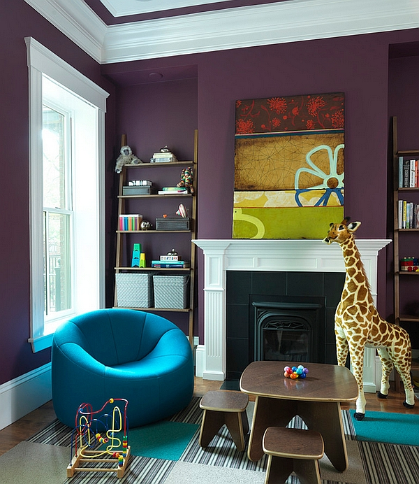 Stylish kids room with walls in eggplant Hot Color Trends: Three Fashionable Hues That Serve You All Year Long Year Trends Three Serve Long Hues Fashionable Color