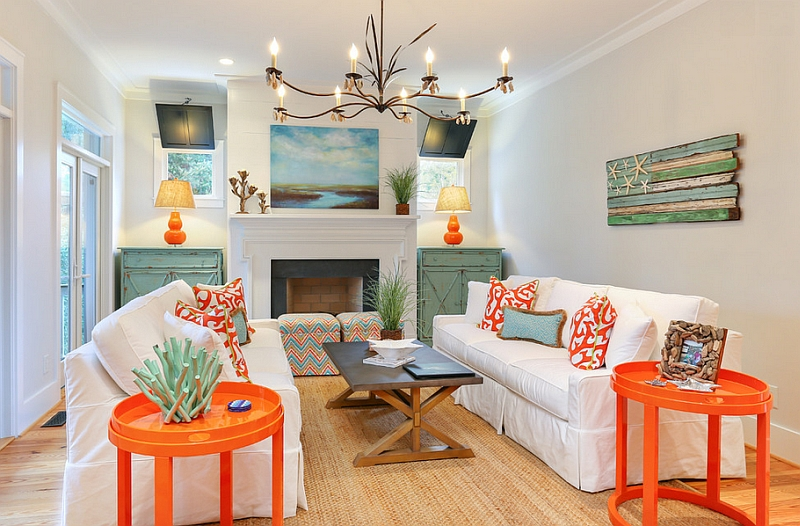 Two trendy colors Bright coral and light teal in the living room Hot Color Trends: Three Fashionable Hues That Serve You All Year Long Year Trends Three Serve Long Hues Fashionable Color