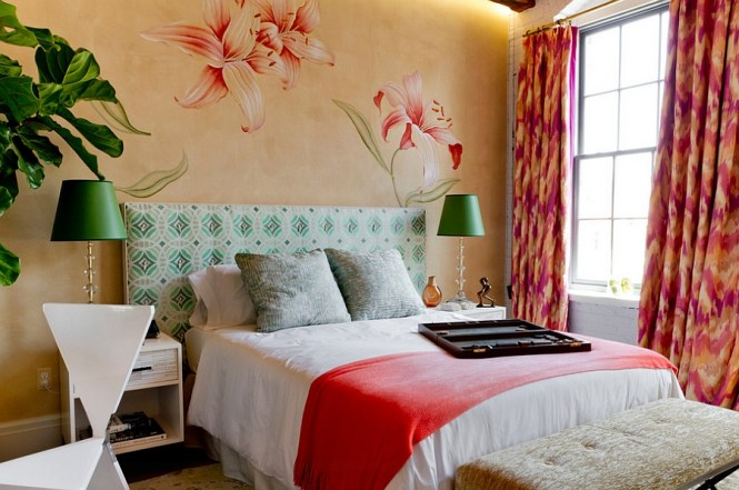 View In Gallery Bright Colors And Natural Greenery Enliven This Trendy Bedroom Sophisticated Bedrooms With A Charming